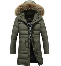 Mens Fur Collar Hooded Down Coat Winter Jacket Parka long warm Overcoats Outwear