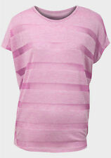 New Women's Pretty Pink Striped Short Sleeve Draping T-Shirt Top Size 10 12 14