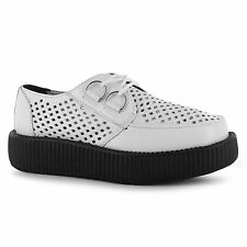 TUK Perforated Chunky Sole Creepers Shoes Womens White Ladies Fashion Footwear