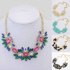 Fashion Womens Mixed Multi Color Crystal Rhinestone Bib Statement Party Necklace