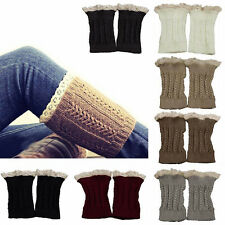 1Pair Fashion Women Crochet Knit Lace Trim Leg Warmers Cuffs Toppers Boot Socks
