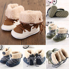 Infant Baby Warm Winter Fur Lined Snow Boots Laces Up Booties Girls Boys Shoes