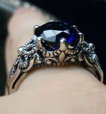 3ct *Sapphire* Sterling Silver Victorian Floral Crown Filigree Ring (MTO/Custom)