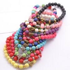 Wholesale Handmade 8MM Turquoise Round Beads Lion Head Stretchy Bracelets