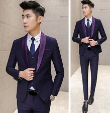 Men's Stunning  Shawl Collar Slim Fit Wedding Tux Prom Suit Jacket Vest Pants