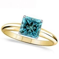 1 Carat Blue Princess Diamond Solitaire Engagement Promise Ring 14K Yellow Gold