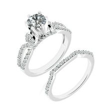 1 Carat G-H Diamond Infinity Engagement Wedding Bridal Ring Band 14K White Gold