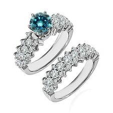 1.75 Ct Blue Diamond Fancy Cluster Solitaire Wedding Ring Band 14K White Gold