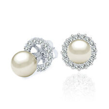 6 MM White Cultured Pearl Solitaire Stud Earrings Halo Jackets 14K White Gold