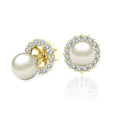 7 MM White Cultured Pearl Solitaire Stud Earrings Halo Jackets 14K Yellow Gold