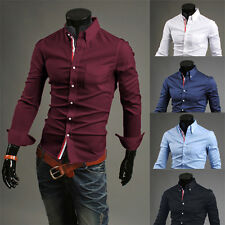 Hot Sale Mens Casual Solid Slim Fit Long Sleeve Tops Dress Business Shirts