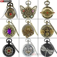 Luxury Steampunk Pendant Quartz Vintage Pocket Watch Chain Necklace Gift New Lot