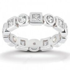 1.72CT Certified Women's Princess and Round Cut Diamond Eternity Band Ring 18kt