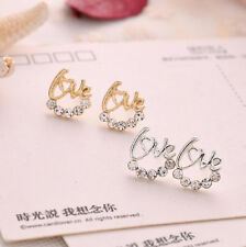 Korea Style Women Lovely Elegant Crystal Rhinestone LOVE Ear Stud Earrings