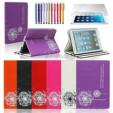 Flower Dandelion Leather Flip Pouch Stand Case Cover For iPad 2 3 4 iPad Mini 1