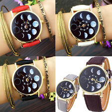 Men Women Moon Phase Watch Leather Astronomy Space Analog Quartz Wrist Watch
