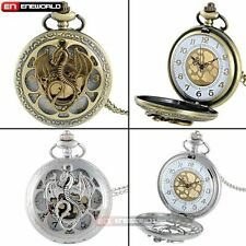 Vintage Quartz Pocket Watch Dragon Necklace Steampunk Petal Hollow Pendant Mens