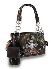 Western Forest Camo Rhinestone Cross Concealed Carry Bag / Cell Pouch