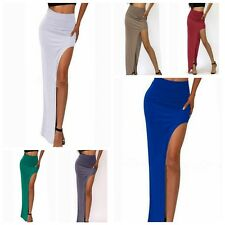 Lady's Bodycon Stretchy Side High Open Slit Maxi Dress Full Length Skirts S/M/L