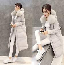 Womens FUR Collar Down puffer Coat Thicken Over Knee Long Jacket hooded Parka