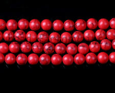 Natural Red Turquoise Round Gemstone Beads Loose Spacer Bead Jewelry Findings