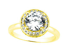 Genuine 1.10Ct Round Cut Diamond Halo Engagement Ring Solid 14k Gold I SI2