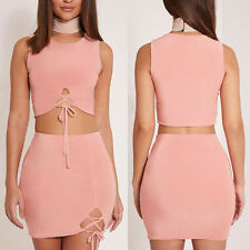 2Pcs Sexy Women Bodycon Lacing Up Crop Tops+mini Skirt Sets Clubwear Mini Dress