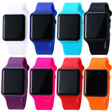 Unisex Simple Design Colorful Rectangle Dial Digital Display Wrist Watch Utility