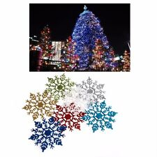 12 Pcs 10cm Glitter Snowflake Christmas Ornaments Xmas Tree Decoration Hanging