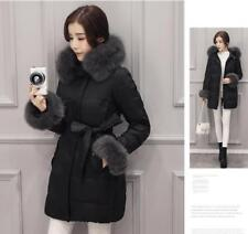 Fashion Women's Down Coat Jackets Real Fox Fur Warm Winter Black/Grey Parkas S-L