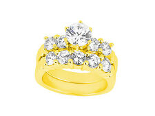 2.10Ct Round Cut Diamond Engagement Ring Wedding Band Set Solid 18k Gold G SI1