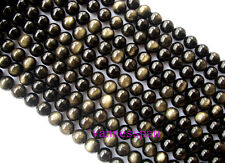"""AAA Natural Gold Obsidian Round Beads 14mm 15"""""""