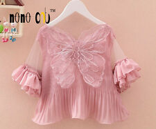 New Girls Lace Butterfly Top White Red Pink Kids Children Sweet Shirt Blouse