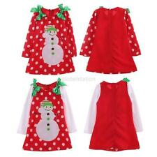 Baby Girsl Kids Long Sleeve Snowman Polka Dot Christmas Clothes Party Tutu Dress