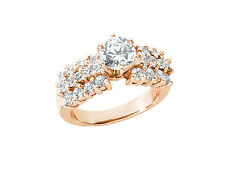 Genuine 2.25Ct Round Diamond Open Gallery 3Row Engagement Ring 18k Gold IJ SI2