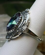 5ct *Mystic Topaz* Sterling Silver Victorian Wreath Filigree Ring Size: Any/MTO