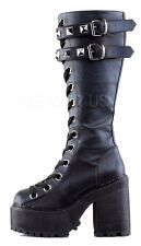 Demonia Assault 202 Gothic Punk Heel Cleated Platform Lace Up Knee Boot 6-11