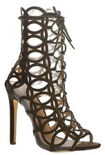 Olive Open toe Gladiator Caged Sandal High Heel Lace up Women's Shoes Randle
