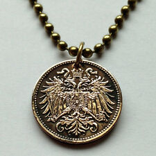 Austria 2 heller coin pendant necklace Austrian DOUBLE HEADED EAGLE wing n000111