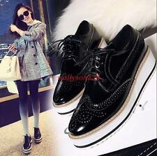 Fashion Brogues Oxford Womens Flat Platform Creeper Lace Up Retro Wingtip Shoes
