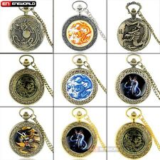 Dragon Vintage Pocket Watch Quartz Necklace Classic Pendant Mens Gift Antique