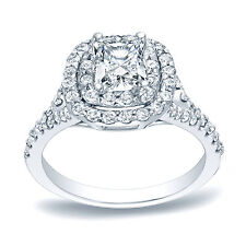 Auriya Platinum 1 1/4ct TDW Cushion Double Halo Diamond Engagement Ring (H-I, SI
