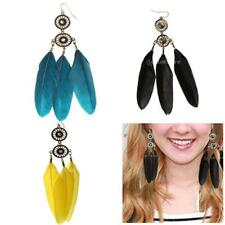 1 Pair Jewelry Feather Crystal Dream Catcher Eardrop Charm Party Earrings