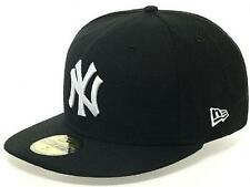 New Era New York Yankees Cap Black White 59fifty Basic Fitted Basecap 5950 MLB