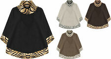 Womens Plus Cowl Neck Cape Poncho Top Ladies Animal Print Sleeveless Plain