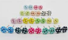 Small POLKA DOT BUTTON STUD EARRINGS KITSCH CUTE RETRO Various Colours Mini 6mm