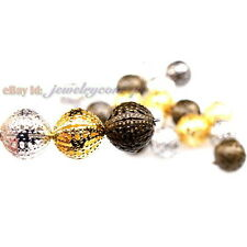 New Mixed Round Ball Hollow Flower Charms Iron Spacer Beads Finding Fit DIY 10mm
