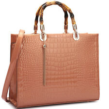 New Dasein Women Croco Leather Briefcase Handbag Purse Satchel Bag Wooden Handle