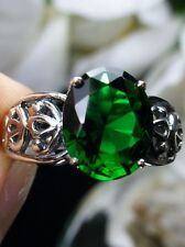 3ct Oval *Emerald* Sterling Silver Vintage Design Filigree Ring Size: MTO/Custom