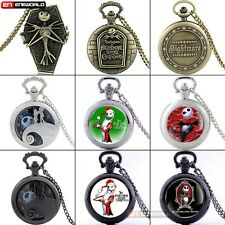 The Nightmare Before Christmas theme Quartz Pocket Watch Gift Necklace Chain Hot